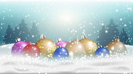 Winter Christmas season with holiday decorations.  space copy text and vector design Reklamní fotografie - 134585414