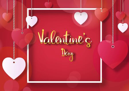 Valentine's day festival, love background and sweet hearts glittering, vector design Reklamní fotografie - 135201931