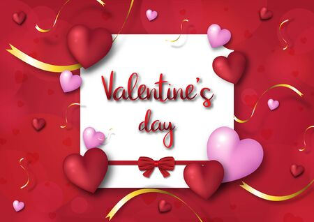 Valentine's day festival, love background and sweet hearts glittering, vector design Reklamní fotografie - 135201920