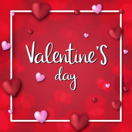 Valentine's day festival, love background and sweet hearts glittering, vector design Reklamní fotografie - 135201942