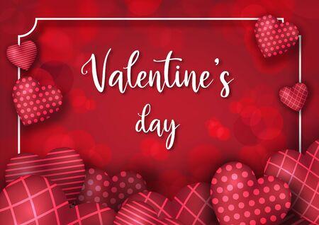 Valentine's day festival, love background and sweet hearts glittering, vector design Reklamní fotografie - 134862955