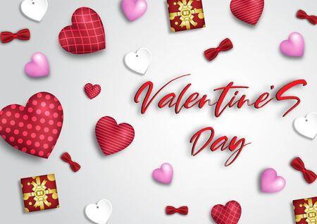 Valentine's day festival, love background and sweet hearts glittering, vector design Foto de archivo - 134862990