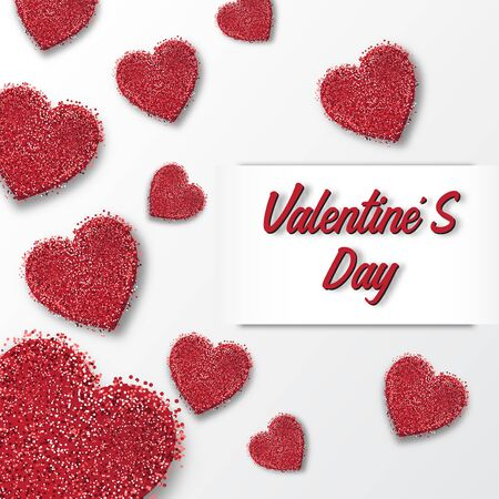 Valentine's day festival, love background and sweet hearts glittering, vector design Reklamní fotografie - 134862994
