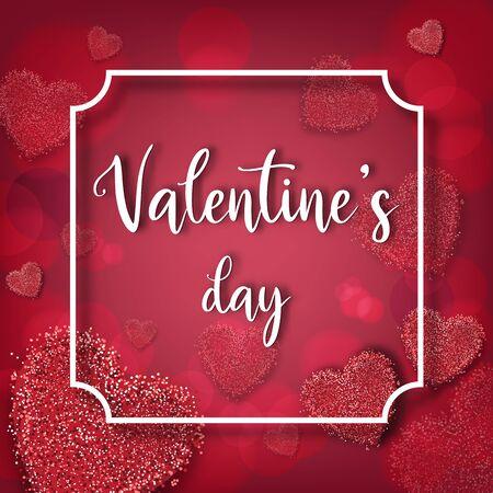 Valentine's day festival, love background and sweet hearts glittering, vector design Reklamní fotografie - 135202137