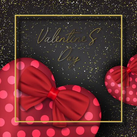 Valentine's day festival, love background and sweet hearts glittering, vector design Archivio Fotografico - 135607527