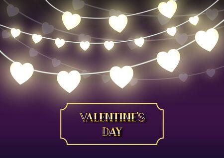 Valentine's day festival, love background and sweet hearts glittering, vector design Reklamní fotografie - 135598985
