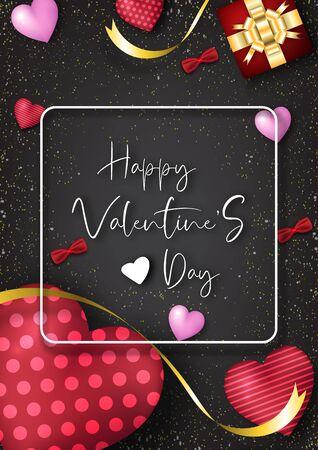 Valentine's day festival, love background and sweet hearts glittering, vector design Archivio Fotografico - 135598990