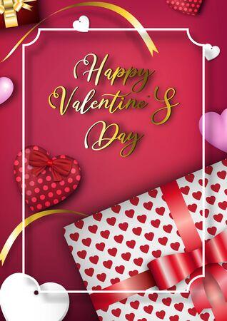 Valentine's day festival, love background and sweet hearts glittering, vector design Reklamní fotografie - 135597714
