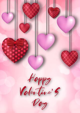 Valentine's day festival, love background and sweet hearts glittering, vector design Reklamní fotografie - 135597716