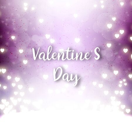 Valentines day festival, love background and sweet hearts glittering, vector design Ilustrace