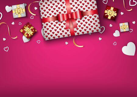Valentine's day festival, love background and sweet hearts glittering, vector design Archivio Fotografico - 136151583