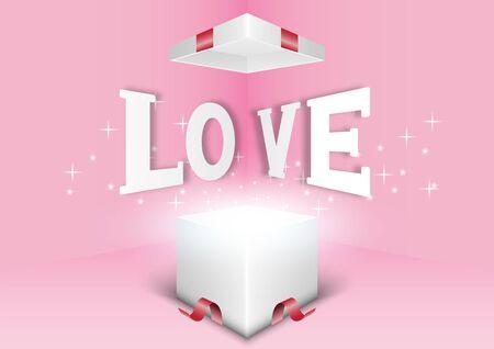 Valentine's day festival, love background and sweet hearts glittering, vector design Archivio Fotografico - 136151619