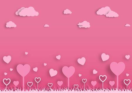 Paper valentine's day festival, love background and sweet hearts glittering, vector design Archivio Fotografico - 136905678