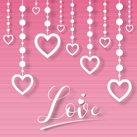 Paper valentine's day festival, love background and sweet hearts glittering, vector design Archivio Fotografico - 136905673