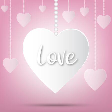 Fête de la Saint-Valentin en papier, fond d'amour et coeurs doux scintillants, dessin vectoriel