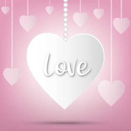 Festival de San Valentín de papel, fondo de amor y corazones dulces brillantes, diseño vectorial