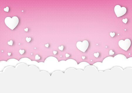 Paper valentine's day festival, love background and sweet hearts glittering, vector design Archivio Fotografico - 136909901