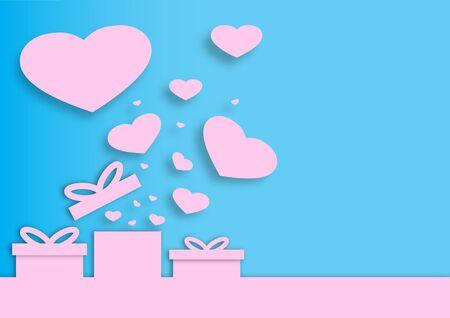 Paper valentine's day festival, love background and sweet hearts glittering, vector design Archivio Fotografico - 136909874