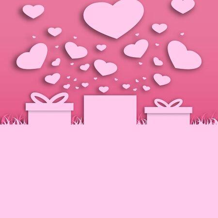Paper valentine's day festival, love background and sweet hearts glittering, vector design Archivio Fotografico - 136909964