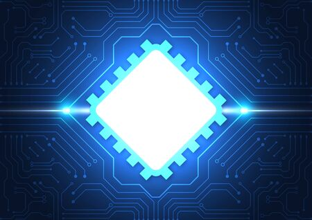 Sfondo della tecnologia dei circuiti stampati con sistema di connessione dati digitale hi-tech e progettazione elettronica del computer Vettoriali