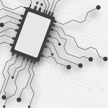 Circuit board technology background with hi-tech digital data connection system and computer electronic desing Ilustração