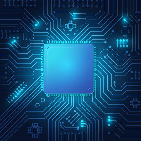 Sfondo della tecnologia dei circuiti stampati con sistema di connessione dati digitale hi-tech e progettazione elettronica del computer