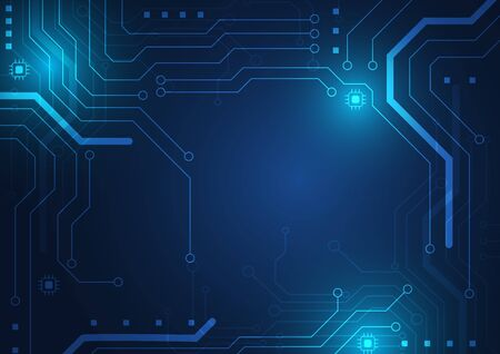 Circuit board technology background with hi-tech digital data connection system and computer electronic desing Vector Illustratie
