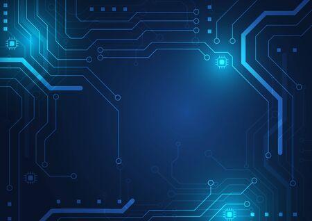Fond de technologie de carte de circuit imprimé avec système de connexion de données numériques de haute technologie et conception électronique informatique Vecteurs