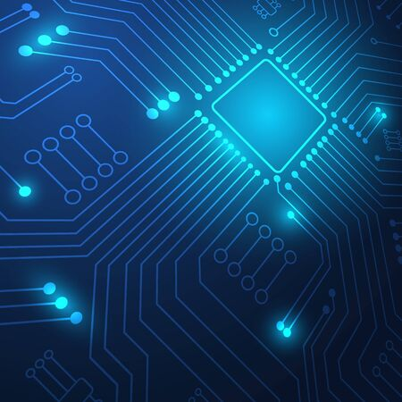 Circuit board technology background with hi-tech digital data connection system and computer electronic desing Ilustração Vetorial