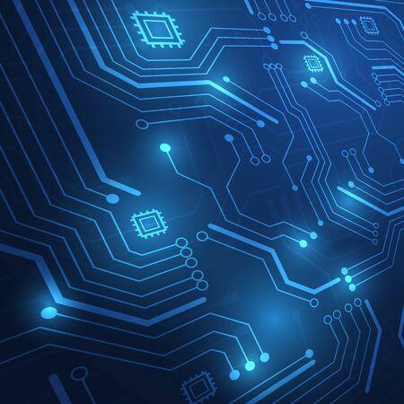 Fond de technologie de carte de circuit imprimé avec système de connexion de données numériques de haute technologie et conception électronique informatique