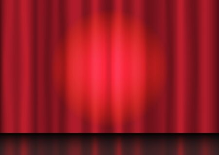 Stage show. Red curtains and bright lights shadows