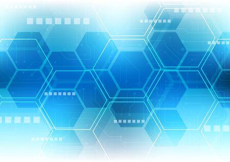 fond de technologie hexagonale avec système de connexion de données numériques de haute technologie pour circuit imprimé souple et conception électronique d'ordinateur