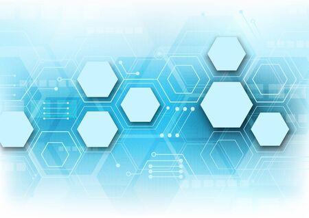 fond de technologie hexagonale avec système de connexion de données numériques de haute technologie pour circuit imprimé souple et conception électronique d'ordinateur Vecteurs