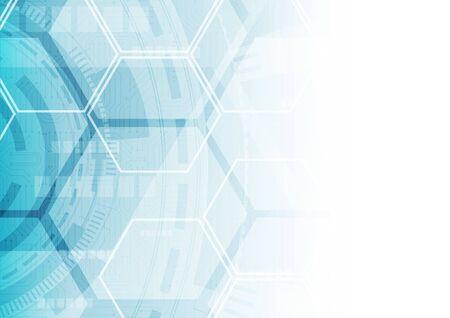 arrière-plan technologique hexagonal avec système de connexion de données numériques de haute technologie pour carte de circuit imprimé souple et conception électronique de l'ordinateur Vecteurs