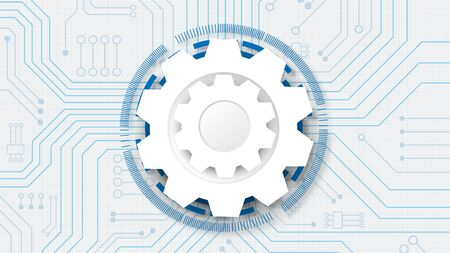 Gear circuit technology background with hi-tech digital data connection system and computer electronic Ilustrace
