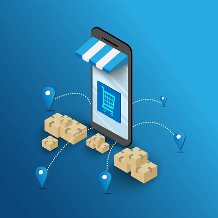 Online shopping on mobile devices through applications Home delivery service