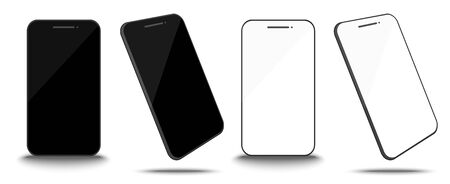 smart phone screen black and white isolate with white background
