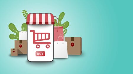 shopping online on smart phone laptop at stay home with fasttransport