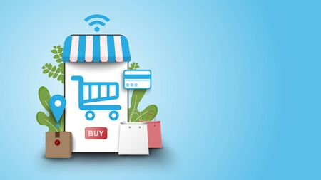 shopping online on smart phone laptop at stay home with fast