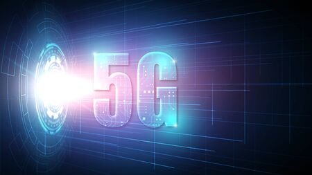 5G speed circuit technology background with hi-tech digital data connection system and computer electronic