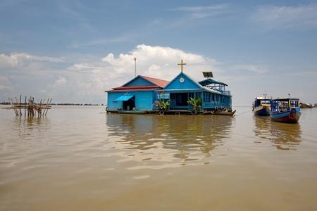 sap: Floating Village on Tonle Sap lake,. Cambodia. Siem Reap Stock Photo
