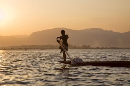 One Leg Boat Rower Inle Lake, Shan State, Myanmar (Burma) photo