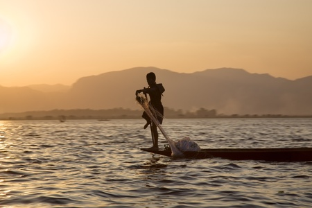 inle: One Leg Boat Rower Inle Lake, Shan State, Myanmar (Burma) Stock Photo