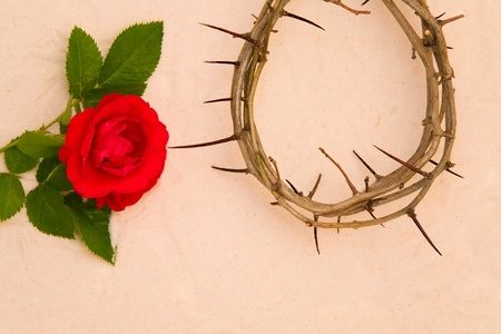 Crown of Thorns and red rose on sand background photo
