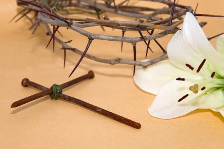 eastertime: Crown of Thorns, crucifix and Easter white Lily on  Beige background