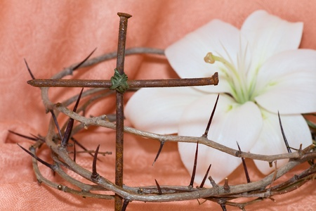 green cross: Crown of Thorns, crucifix and Easter white Lily on  Beige background