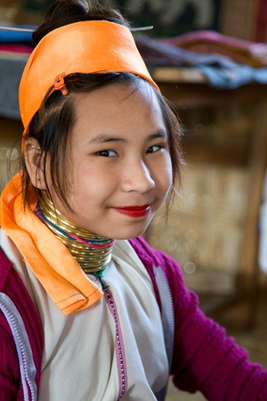 inle: INLE LAKE, Myanmar- FEB 23, 2011:Ethnic minority girl in Myanmar.  Originally located in the Kayah State. But this family lives near Inle Lake. Editorial