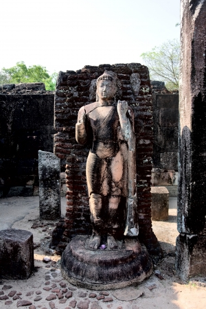 Ancient Buddha statue  in Polonnaruwa - vatadage temple, UNESCO World Heritage Site in Sri Lanka  photo
