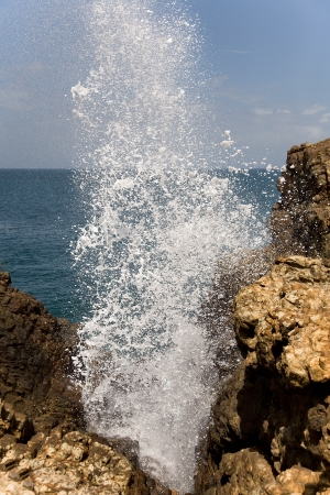 top of nature water fountain in ocean - blow hole, Sri Lanka
