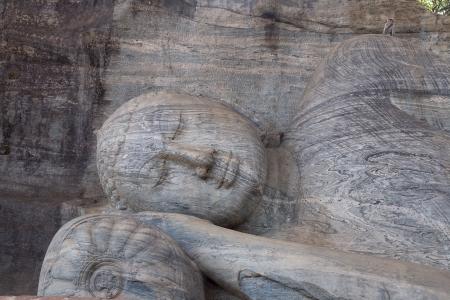 vihara: Ancient lying Buddha image, Gal Vihara, Polonnaruwa, Sri Lanka